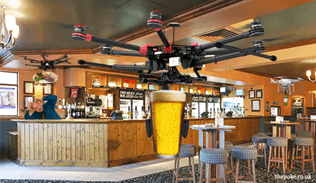 Drone Carrying Pint of Lager