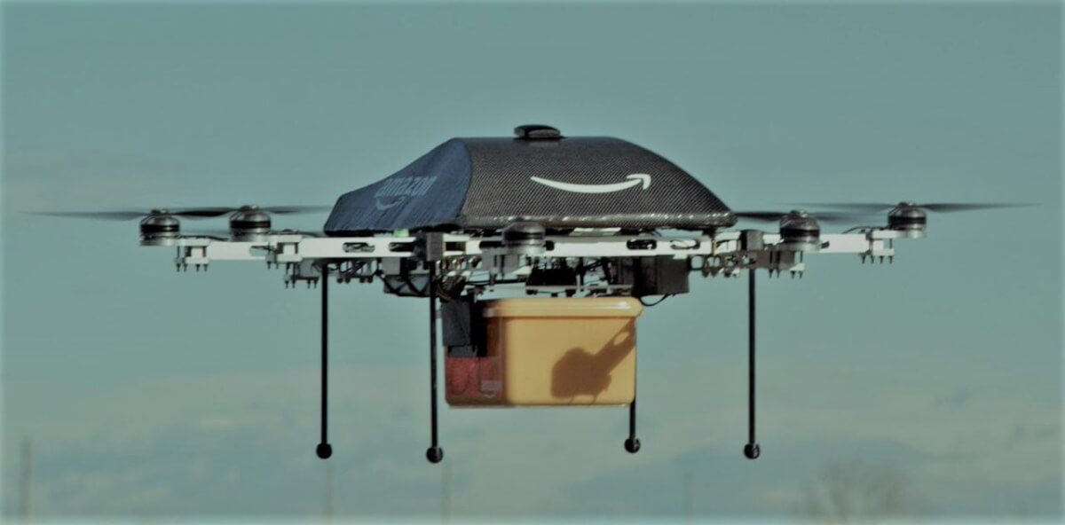 Amazon drone carrying a delivery of goods