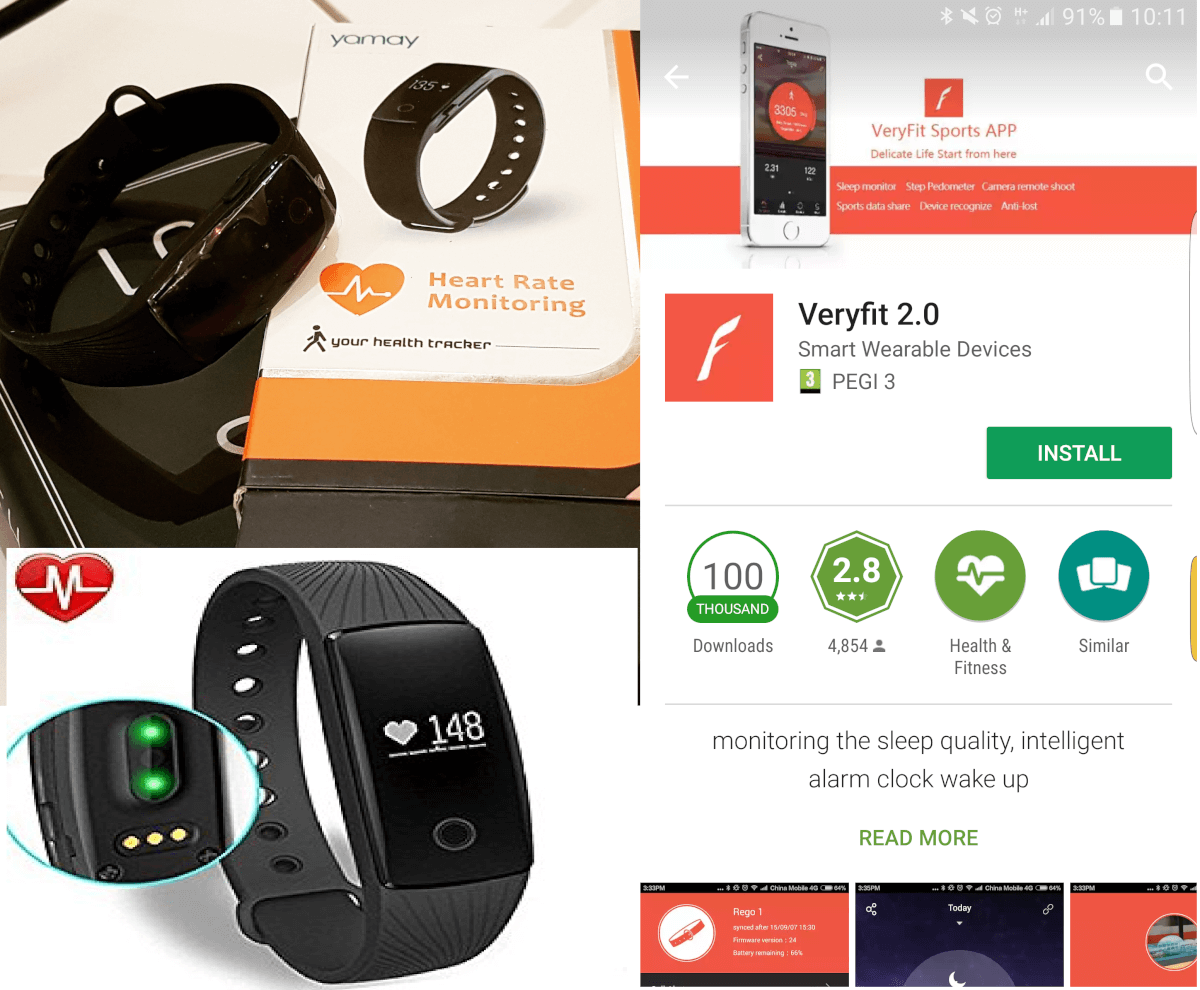 Yamay activity tracker and VeryFit 2.0 app