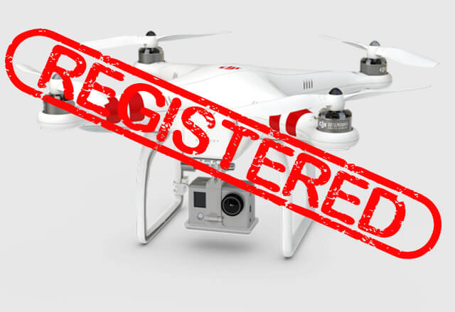 "DJI drone with red text over spelling ""registered"""