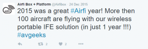 AirFi Tweet - Installed Base