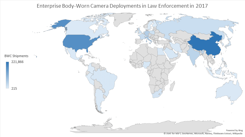 Global map of body-worn camera deployed in law enforcements